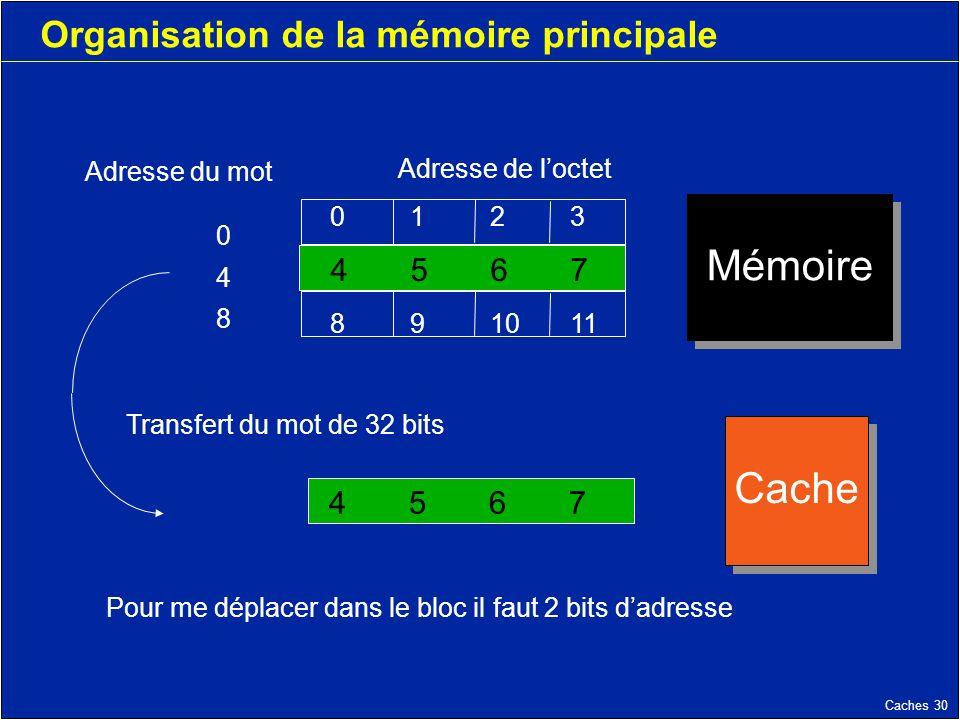 Caches 30 Organisation de la mémoire principale 45674567 Adresse du mot Adresse de loctet 0123 4567 891011 Mémoire Cache Transfert du mot de 32 bits Pour me déplacer dans le bloc il faut 2 bits dadresse 048048