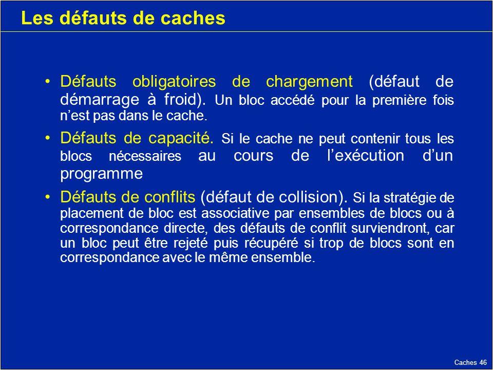 Caches 46 Les défauts de caches Défauts obligatoires de chargement (défaut de démarrage à froid).