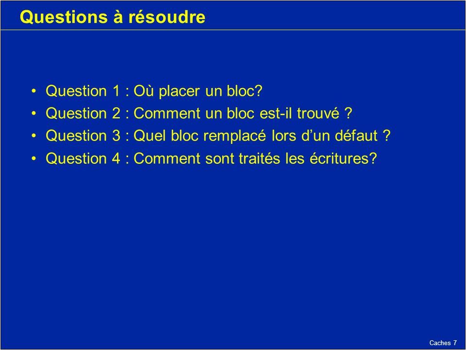 Caches 7 Questions à résoudre Question 1 : Où placer un bloc? Question 2 : Comment un bloc est-il trouvé ? Question 3 : Quel bloc remplacé lors dun dé