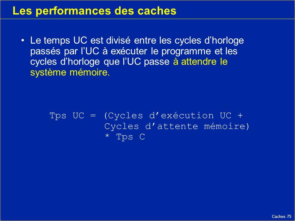 Caches 75 Les performances des caches Le temps UC est divisé entre les cycles dhorloge passés par lUC à exécuter le programme et les cycles dhorloge que lUC passe à attendre le système mémoire.