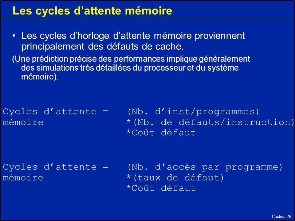 Caches 76 Les cycles dattente mémoire Les cycles dhorloge dattente mémoire proviennent principalement des défauts de cache.
