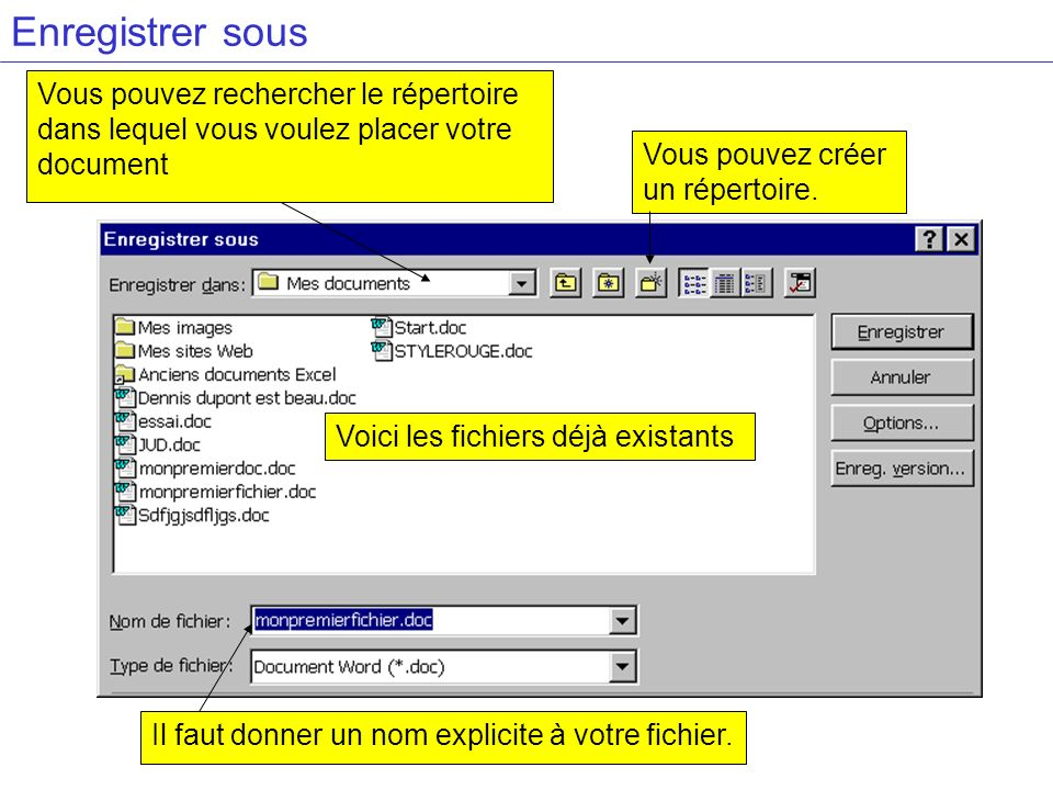 Enregistrer sous Vous pouvez rechercher le répertoire dans lequel vous voulez placer votre document Vous pouvez créer un répertoire. Il faut donner un