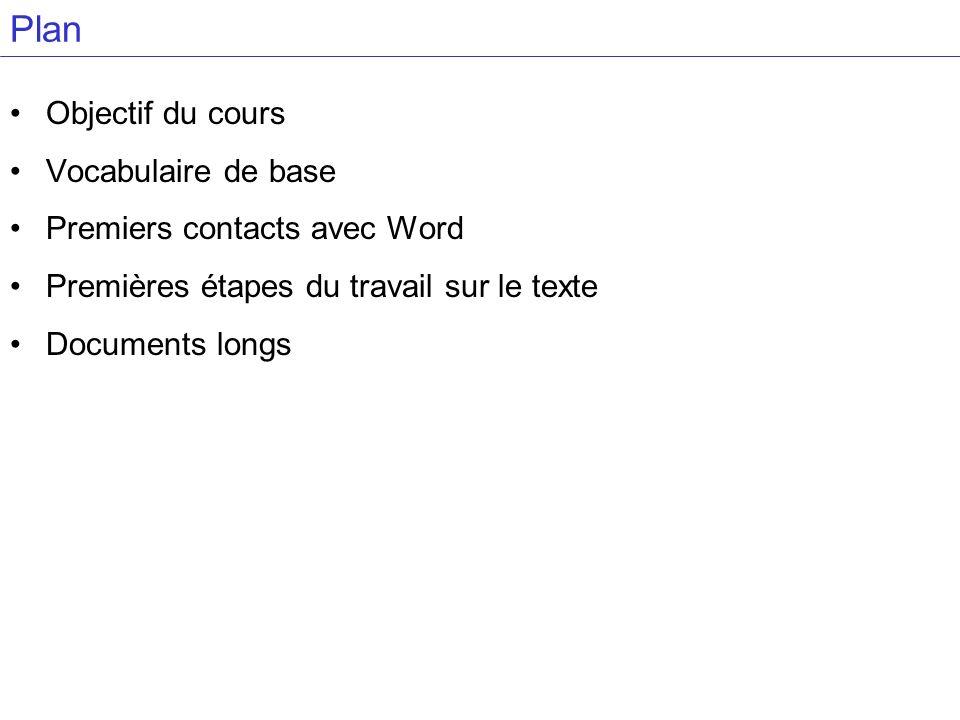 Plan Objectif du cours Vocabulaire de base Premiers contacts avec Word Premières étapes du travail sur le texte Documents longs
