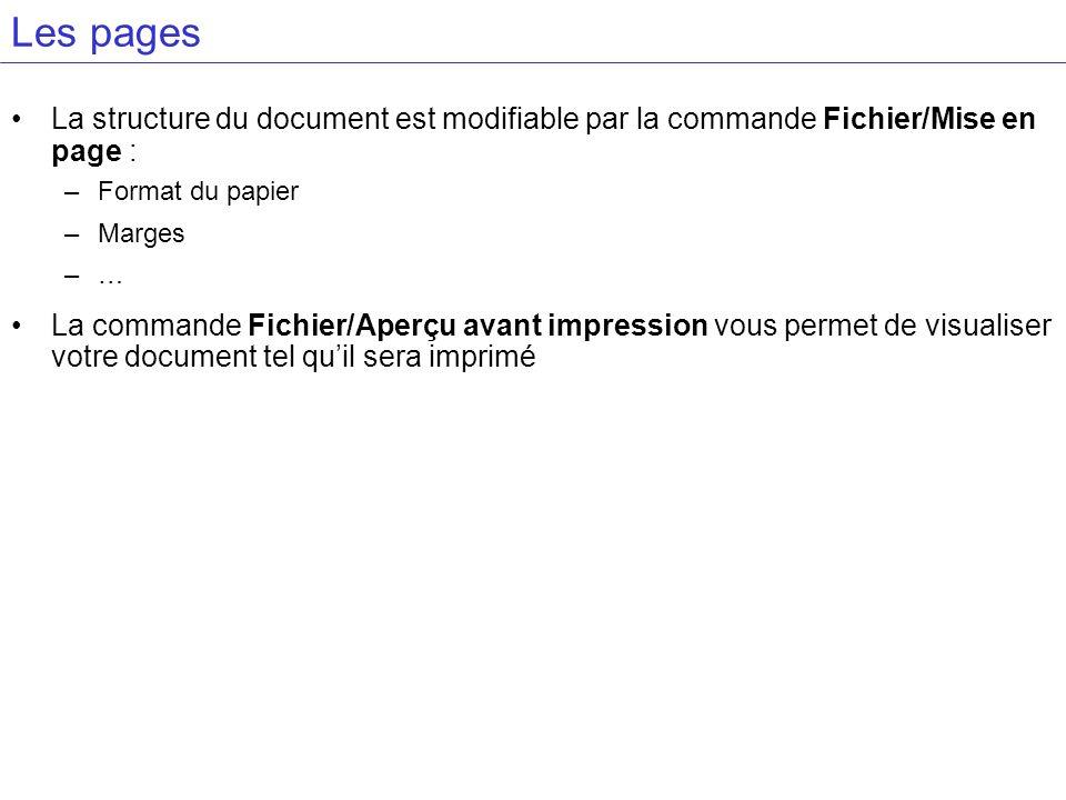 Les pages La structure du document est modifiable par la commande Fichier/Mise en page : –Format du papier –Marges –… La commande Fichier/Aperçu avant