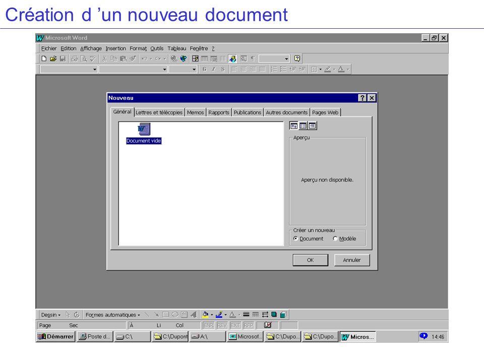 Création d un nouveau document