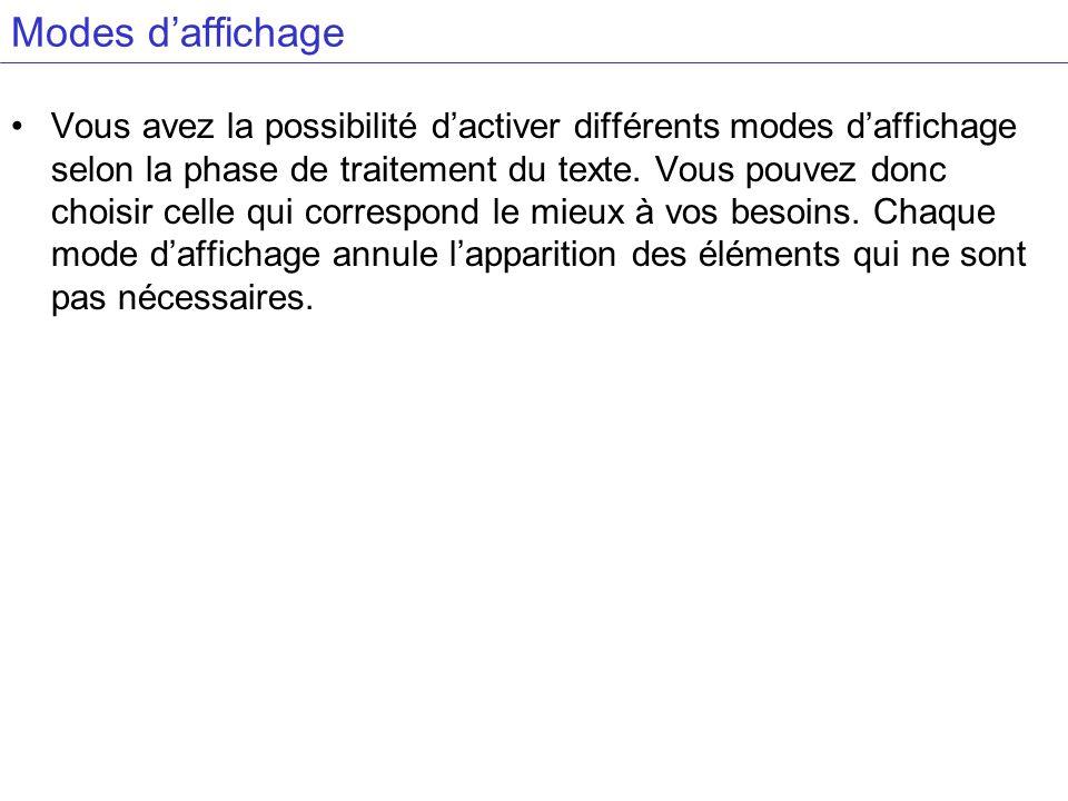 Modes daffichage Vous avez la possibilité dactiver différents modes daffichage selon la phase de traitement du texte.