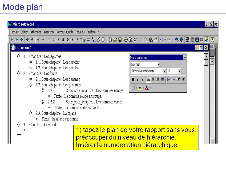 Mode plan 1) tapez le plan de votre rapport sans vous préoccuper du niveau de hiérarchie. Insérer la numérotation hiérarchique.