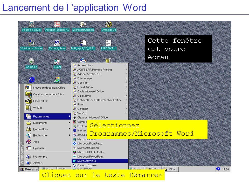 Lancement de l application Word Cliquez sur le texte Démarrer Cette fenêtre est votre écran Sélectionnez Programmes/Microsoft Word