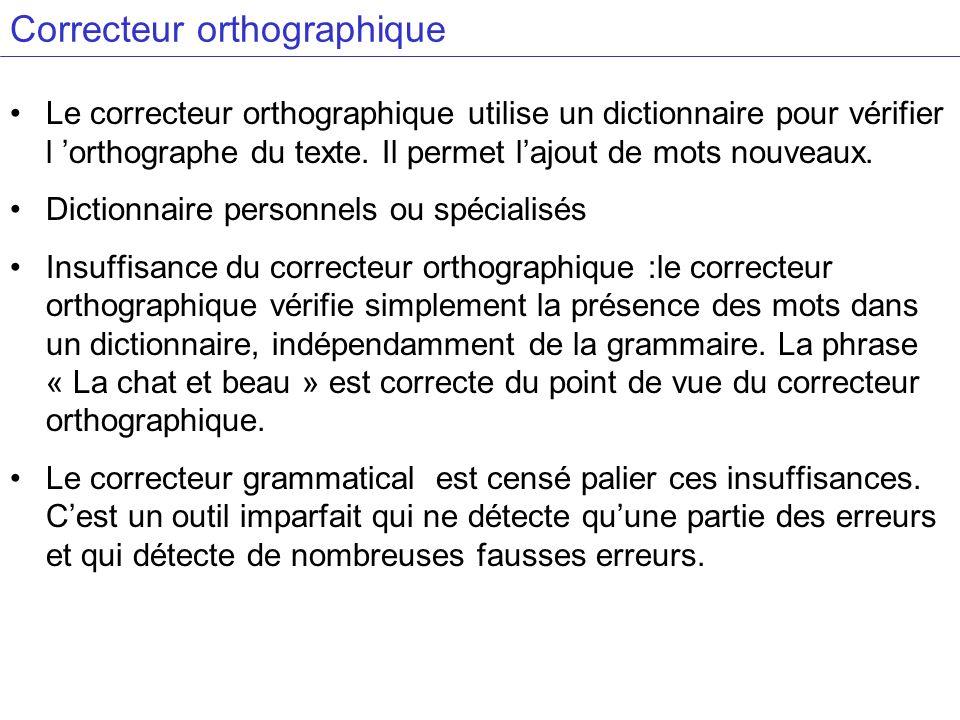 Correcteur orthographique Le correcteur orthographique utilise un dictionnaire pour vérifier l orthographe du texte. Il permet lajout de mots nouveaux