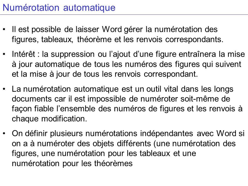 Numérotation automatique Il est possible de laisser Word gérer la numérotation des figures, tableaux, théorème et les renvois correspondants.