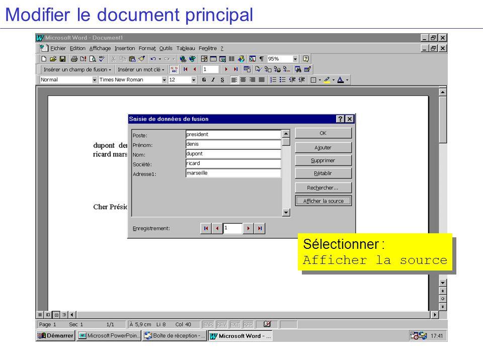 Modifier le document principal Sélectionner : Afficher la source Sélectionner : Afficher la source