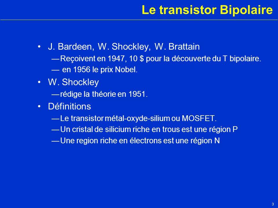 3 Le transistor Bipolaire J. Bardeen, W. Shockley, W. Brattain Reçoivent en 1947, 10 $ pour la découverte du T bipolaire. en 1956 le prix Nobel. W. Sh