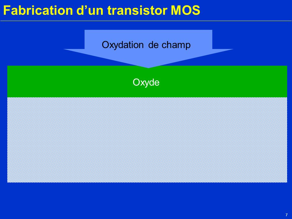 7 Fabrication dun transistor MOS Silicium P Oxyde Oxydation de champ