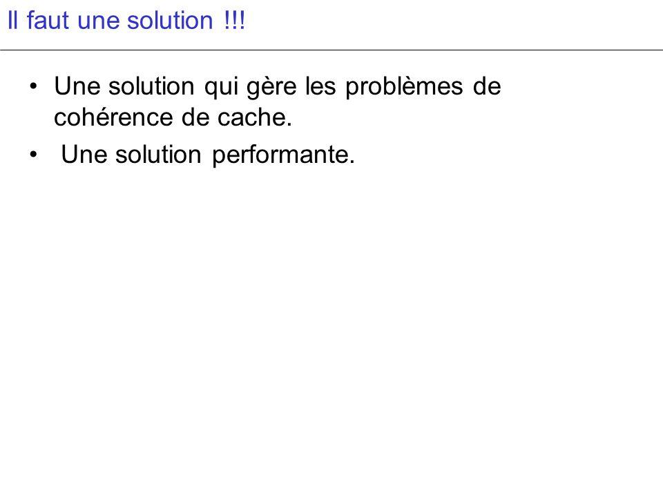 Il faut une solution !!! Une solution qui gère les problèmes de cohérence de cache. Une solution performante.