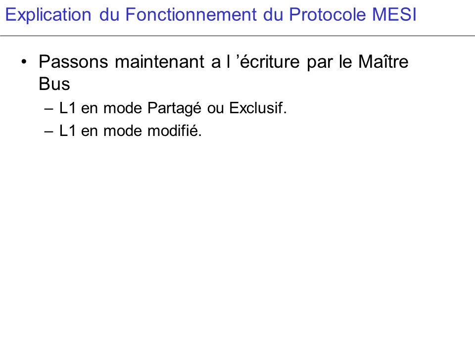 Explication du Fonctionnement du Protocole MESI Passons maintenant a l écriture par le Maître Bus –L1 en mode Partagé ou Exclusif. –L1 en mode modifié