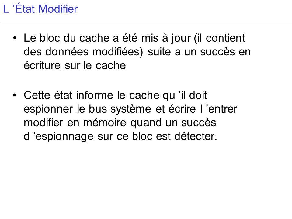 L État Modifier Le bloc du cache a été mis à jour (il contient des données modifiées) suite a un succès en écriture sur le cache Cette état informe le