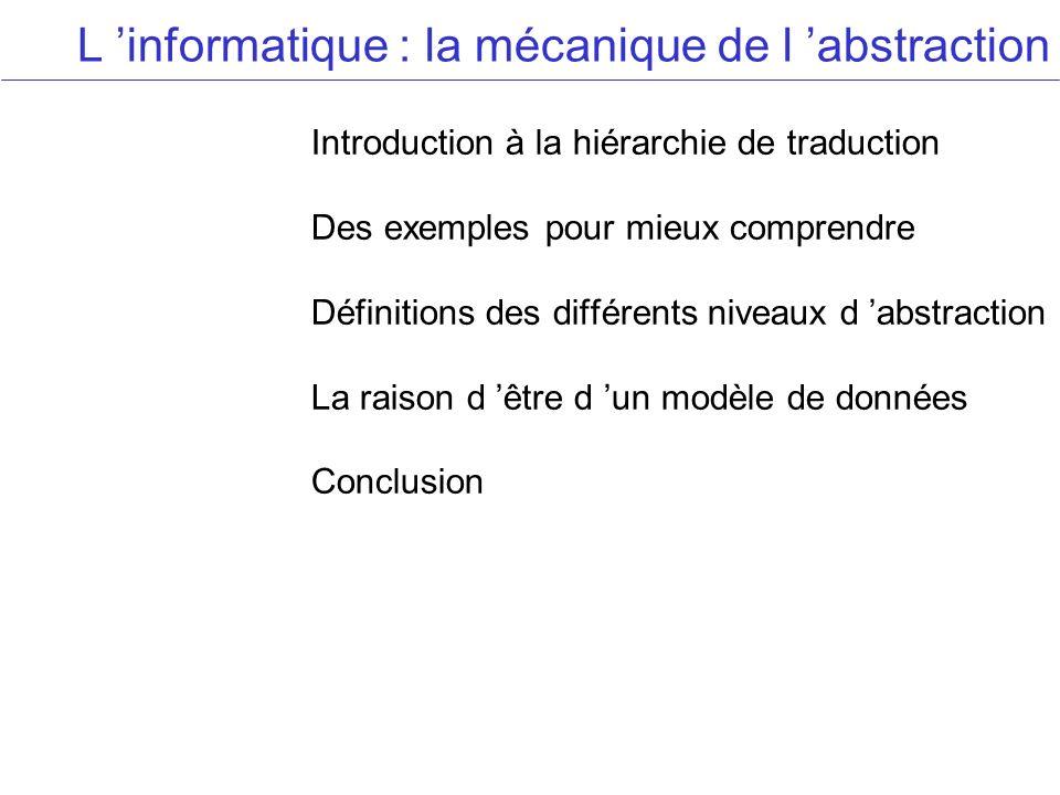 L informatique : la mécanique de l abstraction Introduction à la hiérarchie de traduction Des exemples pour mieux comprendre Définitions des différents niveaux d abstraction La raison d être d un modèle de données Conclusion