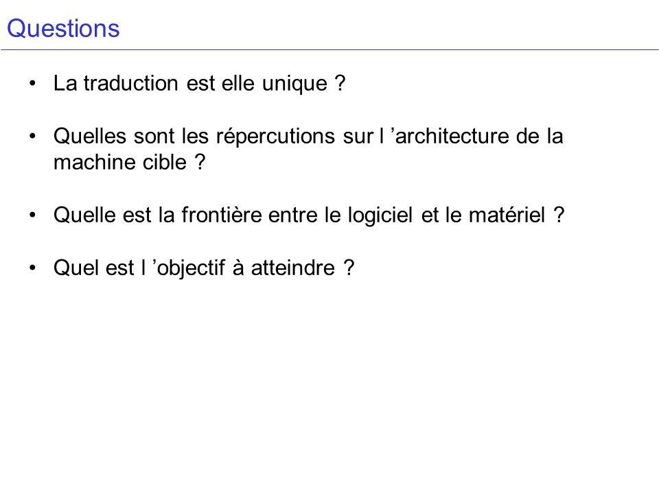 Questions La traduction est elle unique ? Quelles sont les répercutions sur l architecture de la machine cible ? Quelle est la frontière entre le logi