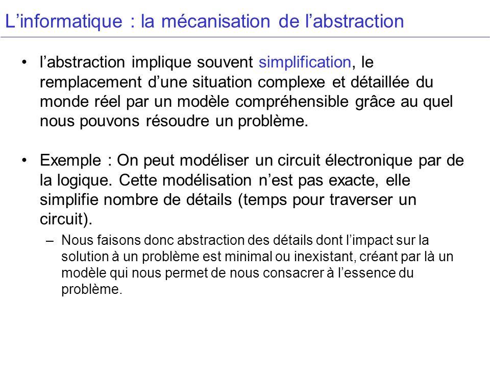 Linformatique : la mécanisation de labstraction labstraction implique souvent simplification, le remplacement dune situation complexe et détaillée du monde réel par un modèle compréhensible grâce au quel nous pouvons résoudre un problème.