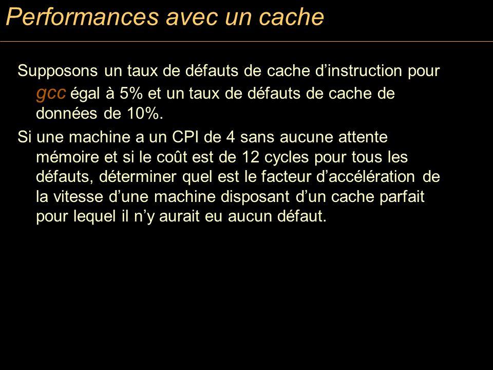 Performances avec un cache Supposons un taux de défauts de cache dinstruction pour gcc égal à 5% et un taux de défauts de cache de données de 10%. Si