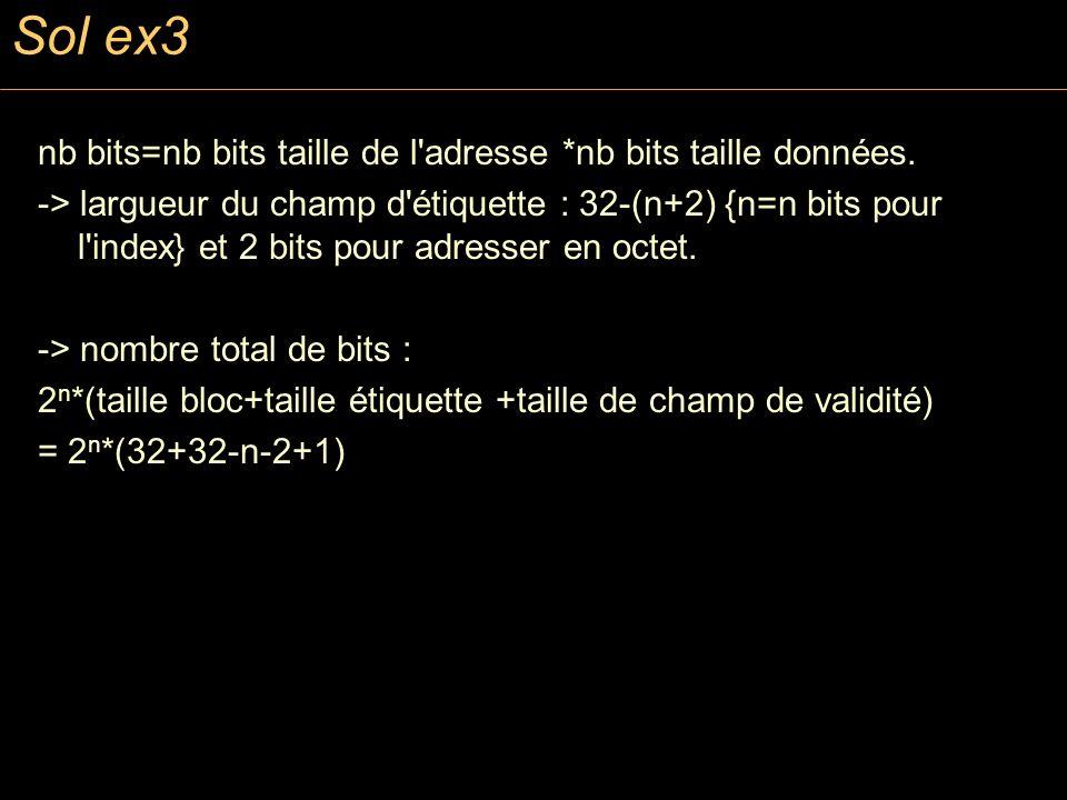Sol ex3 nb bits=nb bits taille de l'adresse *nb bits taille données. -> largueur du champ d'étiquette : 32-(n+2) {n=n bits pour l'index} et 2 bits pou