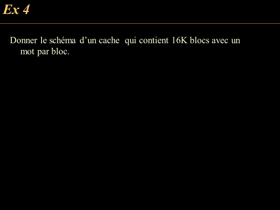 Ex 4 Donner le schéma dun cache qui contient 16K blocs avec un mot par bloc.