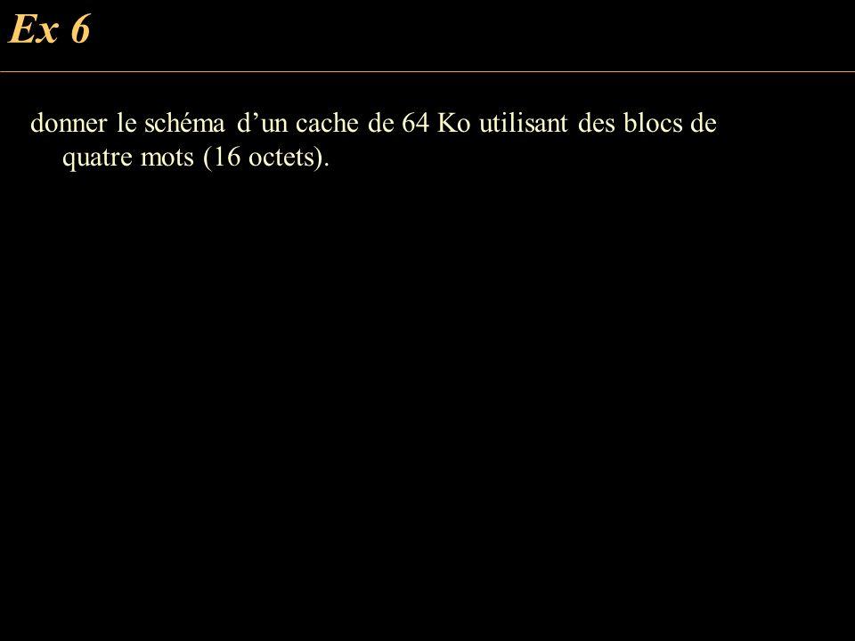 Ex 6 donner le schéma dun cache de 64 Ko utilisant des blocs de quatre mots (16 octets).