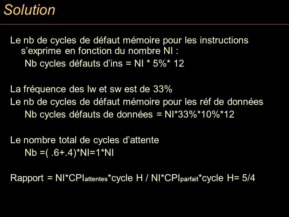 Solution Le nb de cycles de défaut mémoire pour les instructions sexprime en fonction du nombre NI : Nb cycles défauts dins = NI * 5%* 12 La fréquence