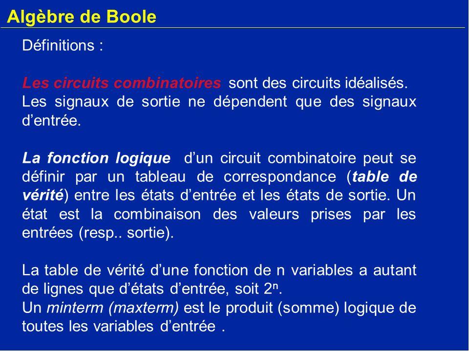 Algèbre de Boole Définitions : Les circuits combinatoires sont des circuits idéalisés. Les signaux de sortie ne dépendent que des signaux dentrée. La