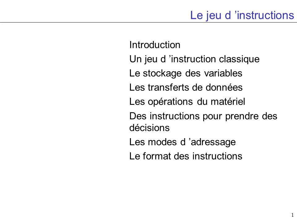 1 Le jeu d instructions Introduction Un jeu d instruction classique Le stockage des variables Les transferts de données Les opérations du matériel Des