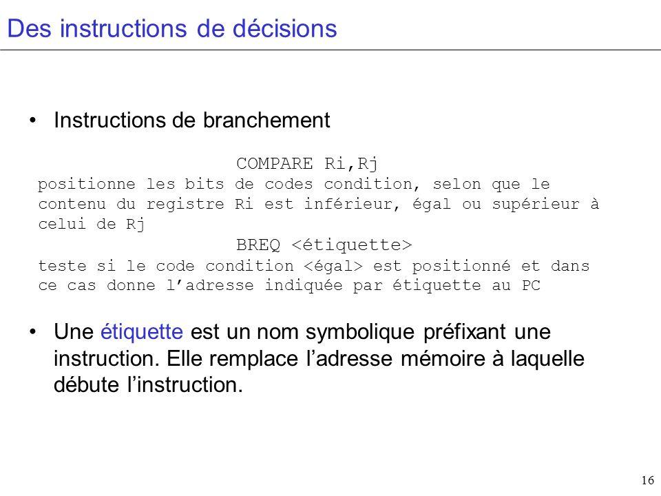 16 Des instructions de décisions Instructions de branchement Une étiquette est un nom symbolique préfixant une instruction. Elle remplace ladresse mém