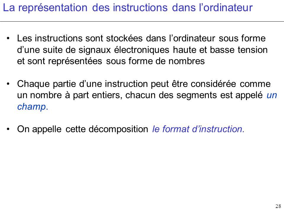 28 La représentation des instructions dans lordinateur Les instructions sont stockées dans lordinateur sous forme dune suite de signaux électroniques