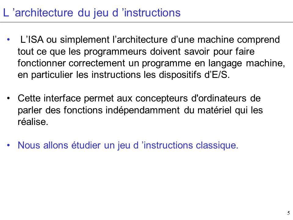 5 L architecture du jeu d instructions LISA ou simplement larchitecture dune machine comprend tout ce que les programmeurs doivent savoir pour faire f