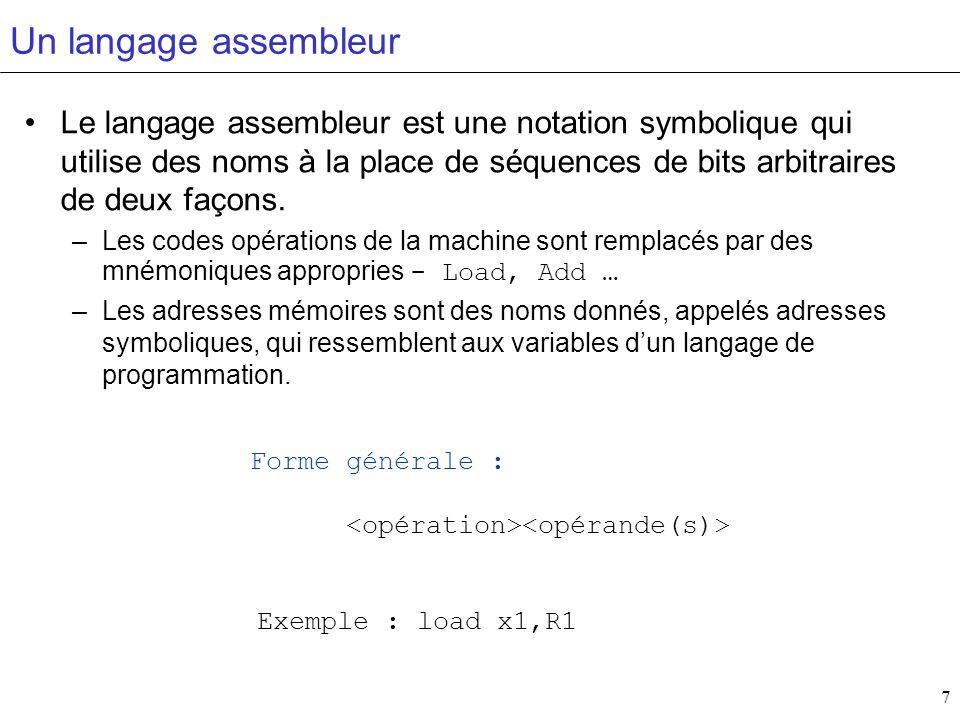 7 Un langage assembleur Le langage assembleur est une notation symbolique qui utilise des noms à la place de séquences de bits arbitraires de deux faç