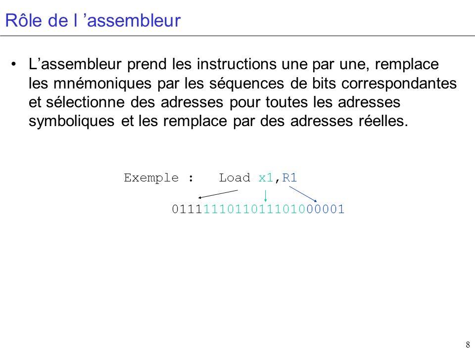 8 Rôle de l assembleur Lassembleur prend les instructions une par une, remplace les mnémoniques par les séquences de bits correspondantes et sélection