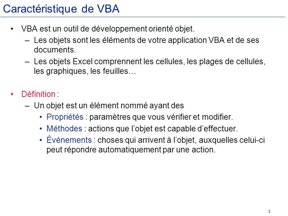 24 Liste des constantes icônes NomVBIcônes affichéesValeur VbCriticalIcône dalerte16 VbQuestion?32 VbExclamation!48 VbInformationIcône information64
