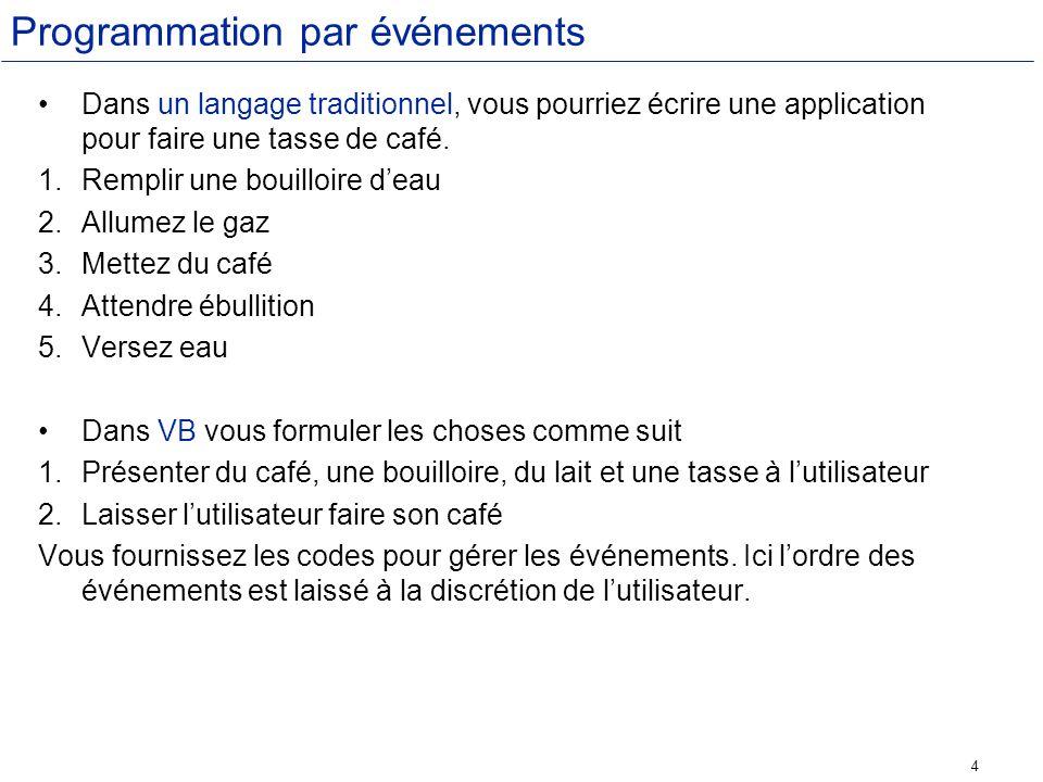 4 Programmation par événements Dans un langage traditionnel, vous pourriez écrire une application pour faire une tasse de café. 1.Remplir une bouilloi