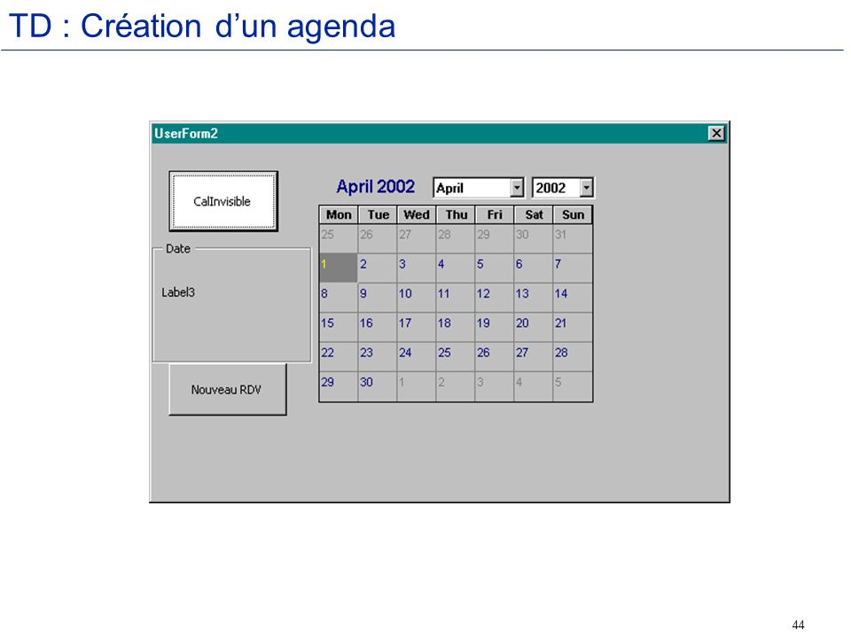 44 TD : Création dun agenda