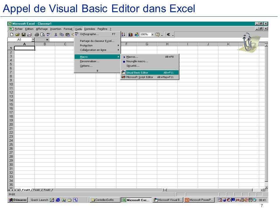 38 Utilisation de la méthode Select La méthode Select active des feuilles et des objets dans des feuilles.