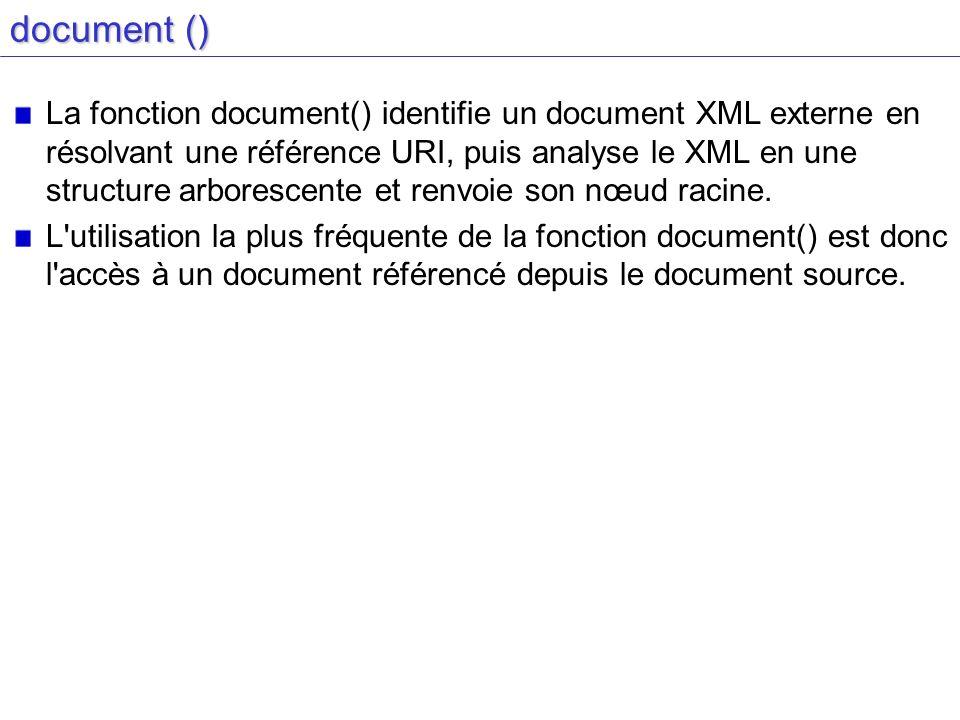 document () La fonction document() identifie un document XML externe en résolvant une référence URI, puis analyse le XML en une structure arborescente et renvoie son nœud racine.