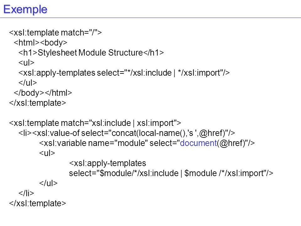 Exemple Stylesheet Module Structure <xsl:apply-templates select=
