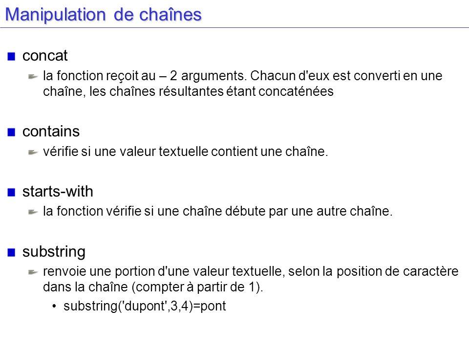 Manipulation de chaînes concat la fonction reçoit au – 2 arguments.