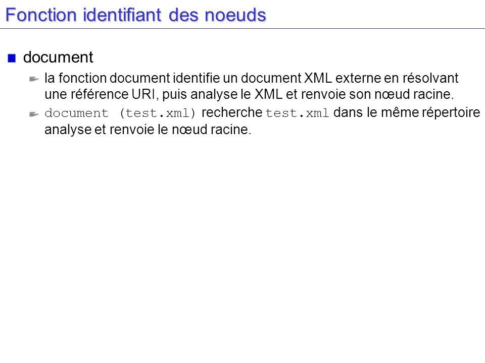 Fonction identifiant des noeuds document la fonction document identifie un document XML externe en résolvant une référence URI, puis analyse le XML et renvoie son nœud racine.