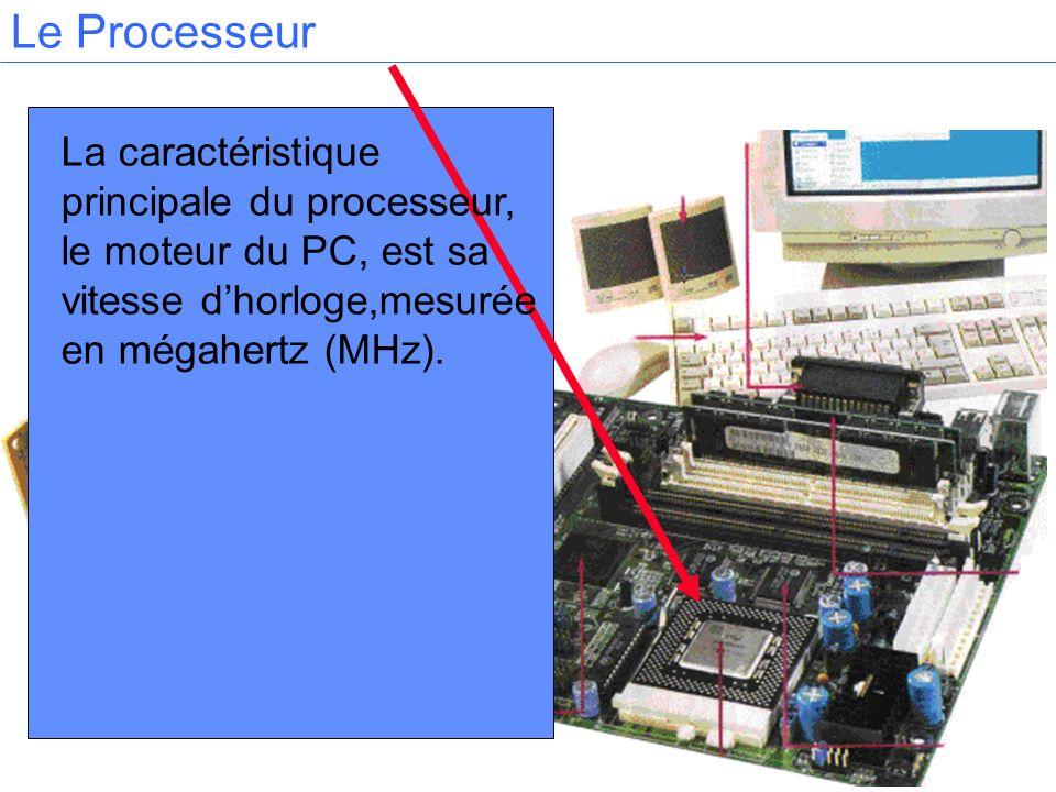 La caractéristique principale du processeur, le moteur du PC, est sa vitesse dhorloge,mesurée en mégahertz (MHz).