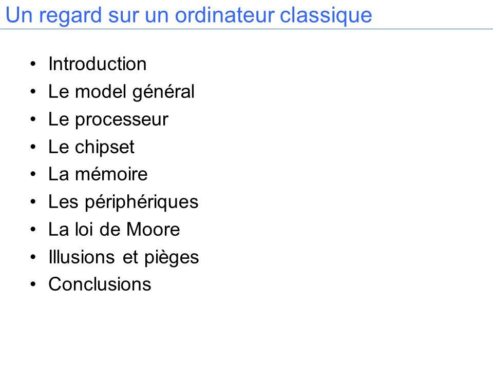 Introduction Le model général Le processeur Le chipset La mémoire Les périphériques La loi de Moore Illusions et pièges Conclusions