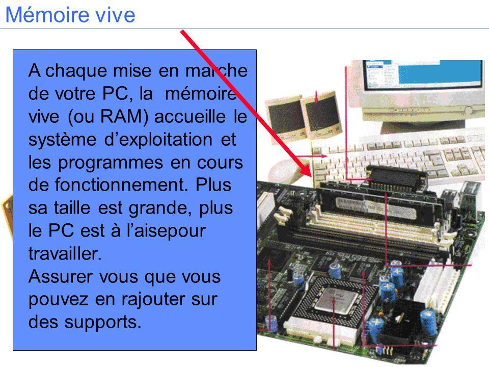 A chaque mise en marche de votre PC, la mémoire vive (ou RAM) accueille le système dexploitation et les programmes en cours de fonctionnement. Plus sa