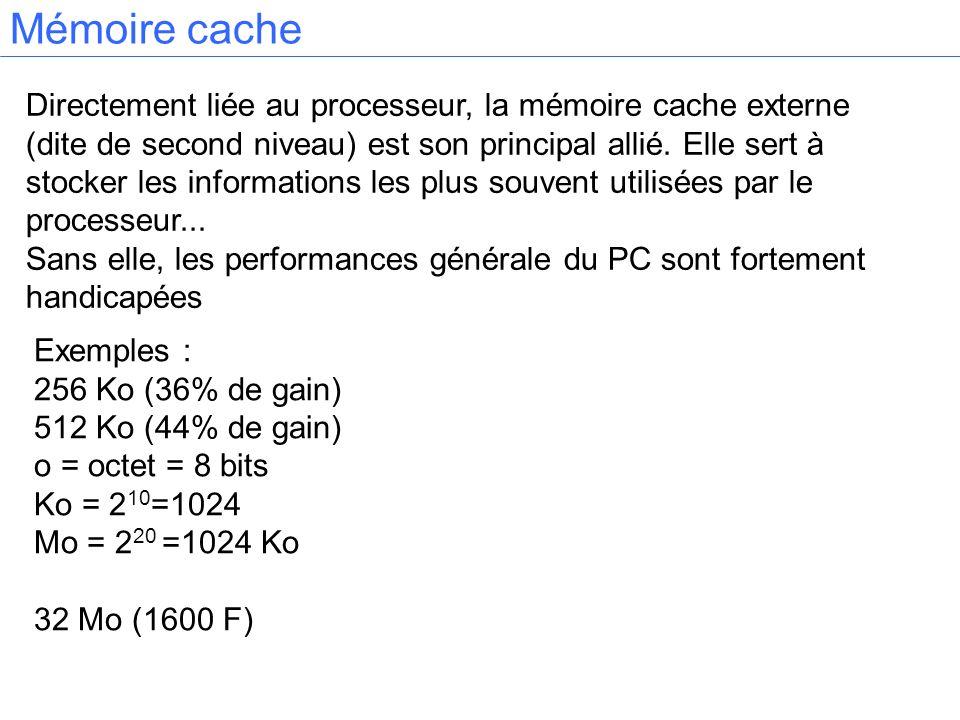 Mémoire cache Directement liée au processeur, la mémoire cache externe (dite de second niveau) est son principal allié. Elle sert à stocker les inform