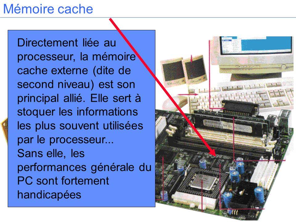Directement liée au processeur, la mémoire cache externe (dite de second niveau) est son principal allié. Elle sert à stoquer les informations les plu