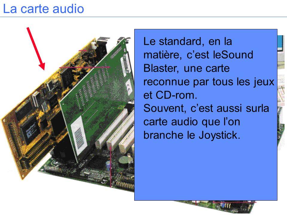 Le standard, en la matière, cest leSound Blaster, une carte reconnue par tous les jeux et CD-rom. Souvent, cest aussi surla carte audio que lon branch