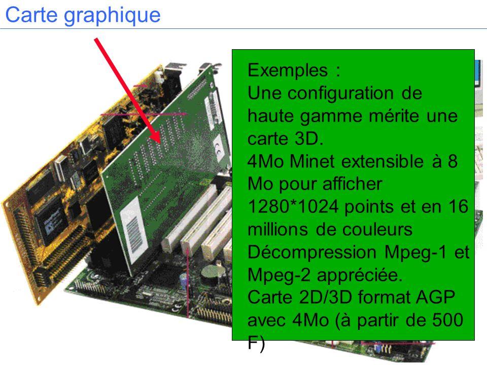 Carte graphique Exemples : Une configuration de haute gamme mérite une carte 3D. 4Mo Minet extensible à 8 Mo pour afficher 1280*1024 points et en 16 m